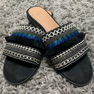 A New Day Black Embellished Fringe Slide Sandals